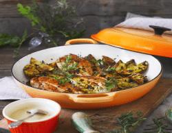 Spargel mit Steak und Ofen-Kartoffeln