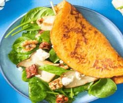 Linsen-Tomatenpfannkuchen mit Spinat
